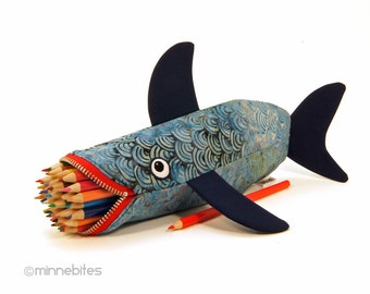Nautical Zipper Pouch, Shark Pencil Case, Fish Purse, Navy & Red. Stormy Shark.
