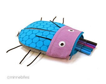 Beetle Pencil Case - Purple Bug Zipper Pouch - Desk Toy - Kids Coloring Organizer - Travel Bag for Kids - Back to School - Ready to Ship