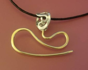 Sterling and Bronze Filigree Cable Needle Necklace for Socks