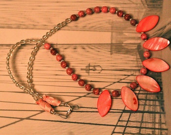 Pink and Pretty Shell Spear Stone Bead Necklace Bright and Fun