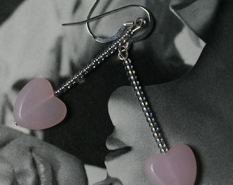 Pretty and Pink Glass Frosted Hearts Earrings