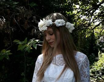 White and rose gold flower crown, Boho bridal crown, Flower and shell bridal crown, rose gold glitter leaf crown, mermaid flower crown