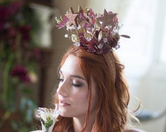 Star Crown, Plum Flower Crown, Glitter Star crown, Fairytale flower crown