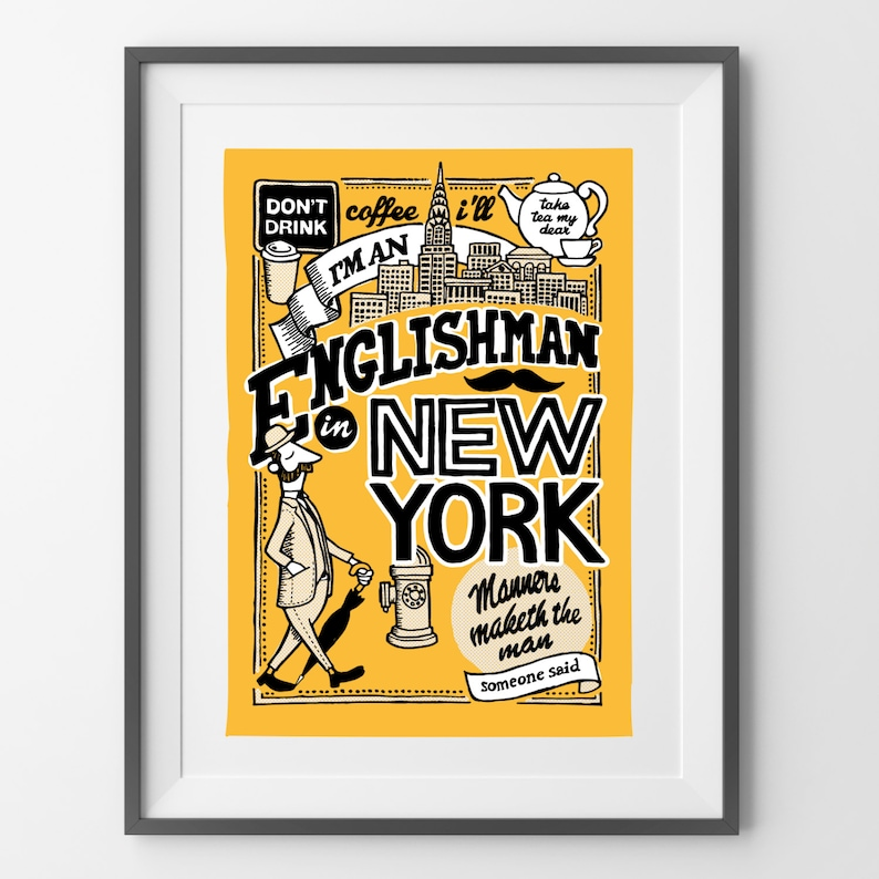 An Englishman in New York  Hand Illustrated Print image 0