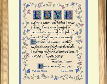 Personalized Love is Patient Wedding Gift, Corinthians 13, hand lettered, framed, Custom Christian Wedding, Anniversary, Engagement gift