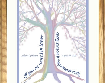 Unique Personalized Wedding gift; painting of Love Tree in pastel colors; also Anniversary or Engagement Gift, framed, hand-lettered print