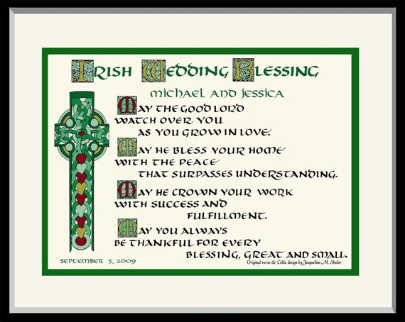 Irish Celtic Wedding Blessing Gift Free Us Shipping And Etsy