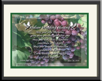 Unique Personalized Italian Wedding Gift; original verse and design; framed; great anniversary or engagement gift! Destination wedding.