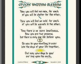 Apache Wedding Blessing, Native American images,framed personalized free. Unique lettering & design by artist/calligrapher Jacqueline Shuler