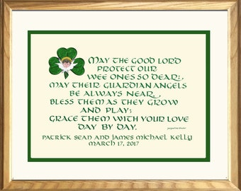Irish Twin Baby Gift, personalized free, composed, lettered and designed by Jacqueline Shuler