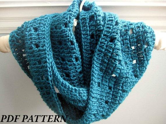 Crochet Pattern Pdf Easy Crochet Cowl Infinity Scarf Etsy