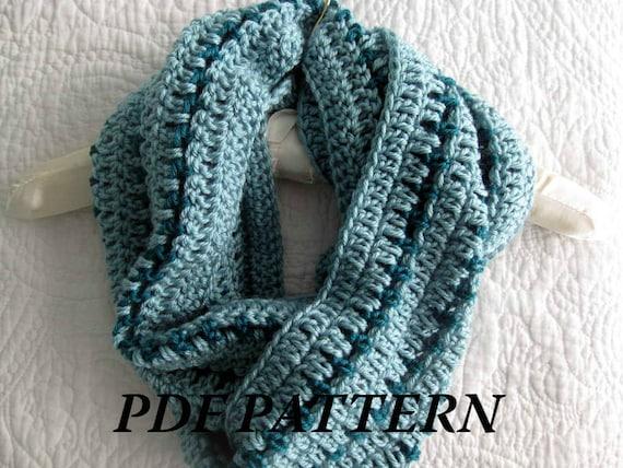 Crochet Pattern Pdf Striped Crochet Cowl Infinity Scarf Etsy