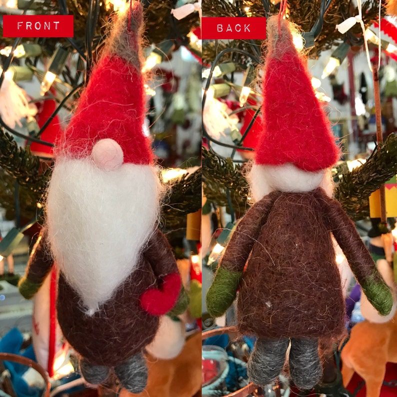 Handmade NEW Needle Felted Boiled Wool Woodland Forest Gnome Decor Ornament in Brown and Red Color USA 7inch