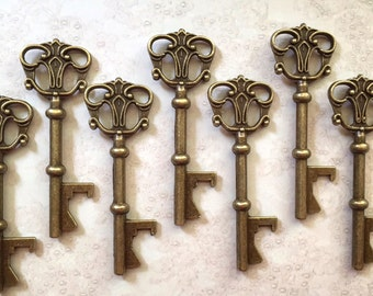"""Skeleton Key BOTTLE OPENERS – Set of 50 – Antique Bronze – 3"""" Long (76mm) –Vintage Style - Create Your Own Wedding Favors! Ships from USA."""