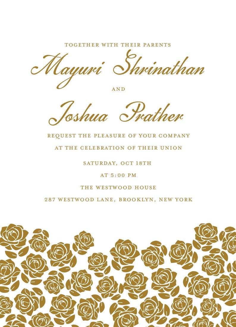 Downloadable Hindu Wedding Rose Invitation