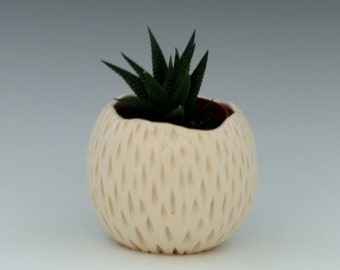 Ceramic Succulent Planter Pineapple shape, Handmade Ceramic Porcelain Planter in Classic White with hand carved texture/Ceramic and Pottery