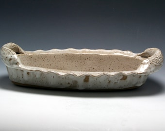 """12"""" X 5"""" Farmhouse Style Speckled White Oval Stoneware Casserole with Textured Handles/Ceramics and Pottery"""