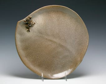 """12"""" Large Ceramic Handmade Leaf Platter, Cheese Board, Rustic Cheese Plate in Shades of Brown with FROG/Ceramics and Pottery"""