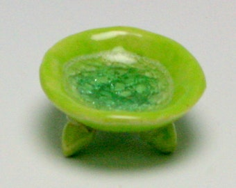 Lime Green Tiny Ring Dish, Ceramic Ring Bowl, Handmade Ceramic Ring Dish, Mother's Day Gift for Mom/Ceramics and Pottery