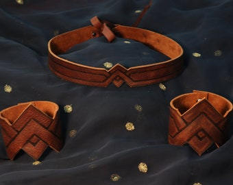 Wonder Woman Leather Crown and Cuffs