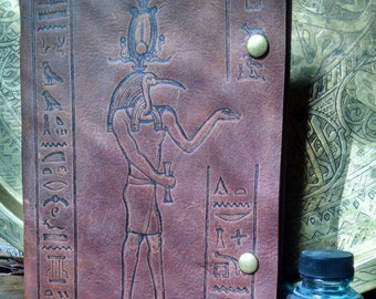 Thoth Egyptian God of Writing Brown Leather Journal/ Sketchbook/ Notebook
