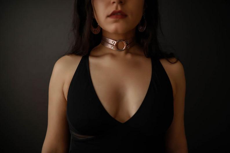 Zorra Leather Choker  Collar  Rose Gold image 0