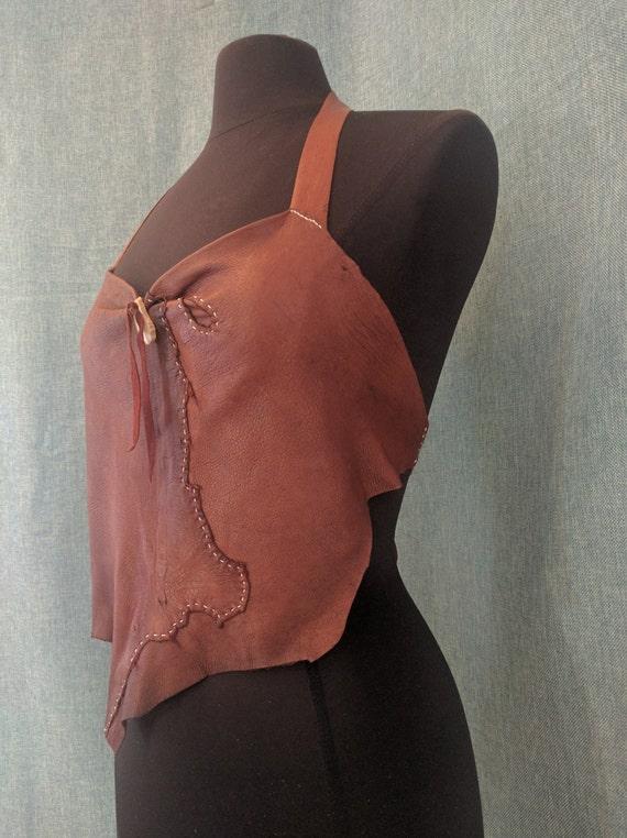 The Huntress Mahogany Deerskin Leather Halter Top
