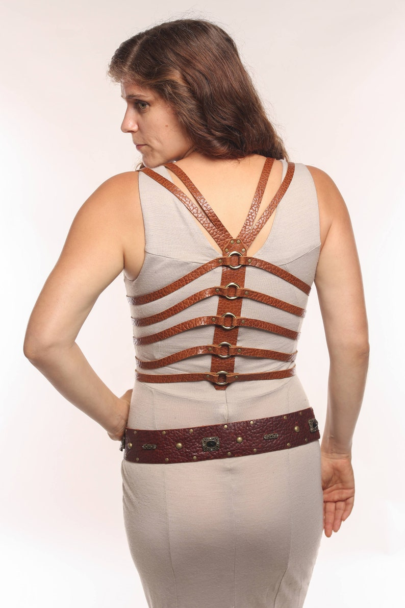Heart Wide Open Leather Ribcage Harness image 0