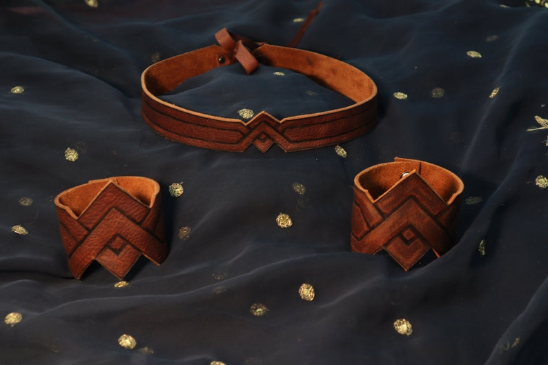 Wonder Woman Leather Crown and Cuffs image 0