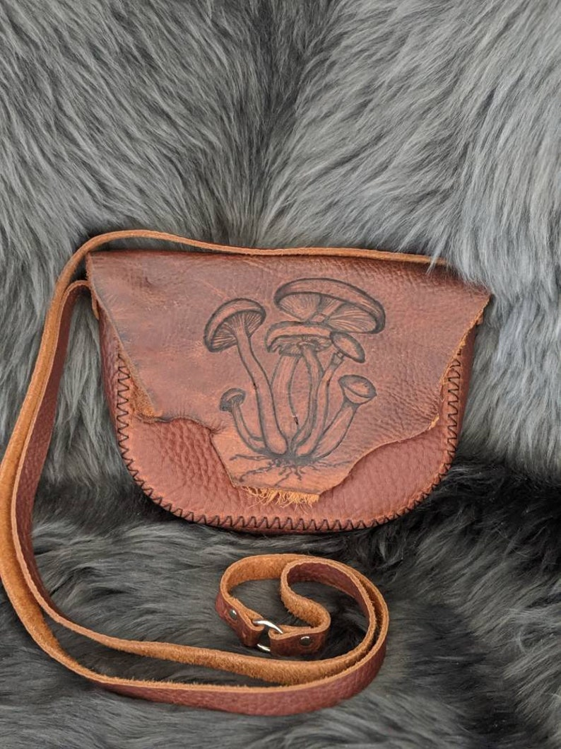Fungi are friends leather crossbody bag purse image 0