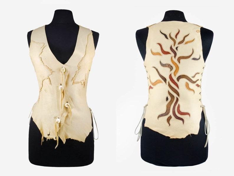 Tree of Sacred Knowledge Deerskin Leather Vest image 0
