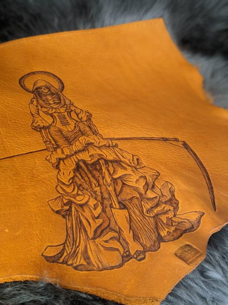 Santa Muerte leather messenger/laptop bag image 0