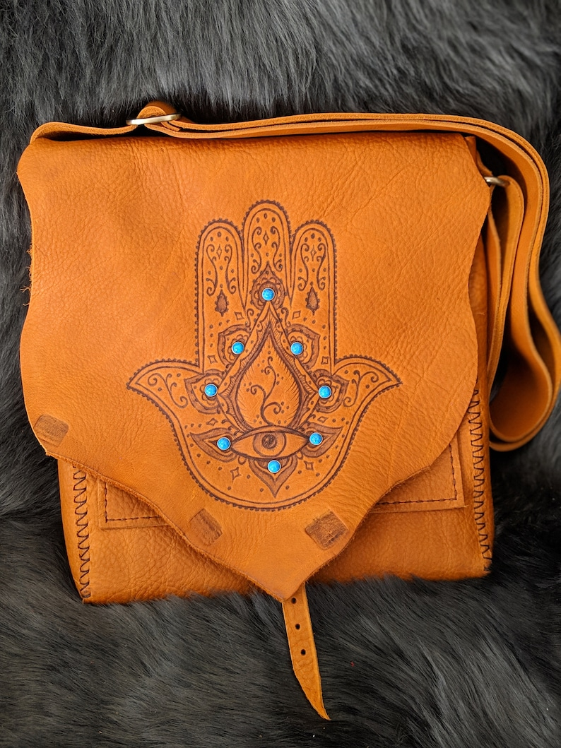 Hamsa Hand of Fatima Leather Satchel image 0