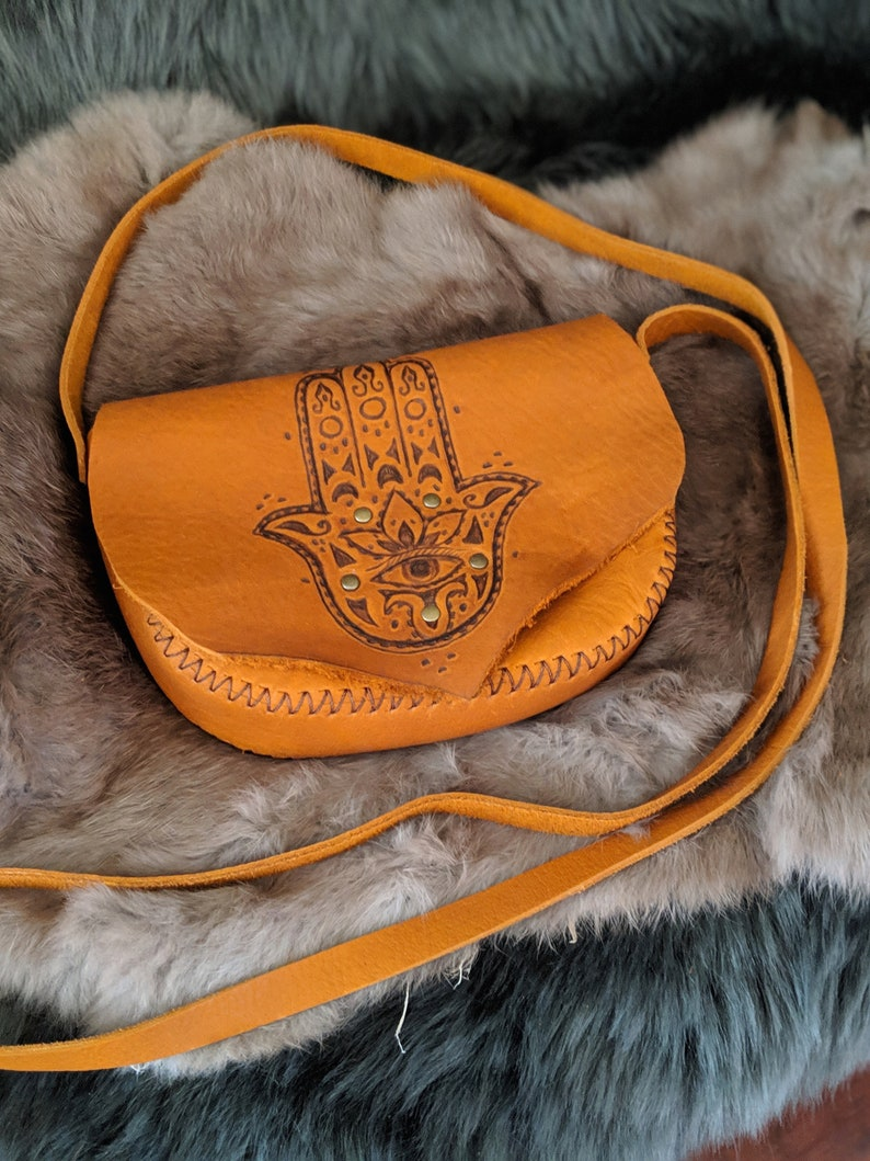 Hamsa Hand of Fatima Leather Crossbody bag Purse image 0