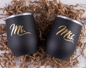 COUPLE Metal insulated wine tumbler with matching straws (set of 2 tumblers)