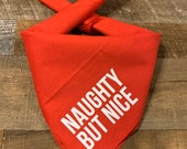 Naughty But Nice - Screen Printed Holiday Dog Bandana