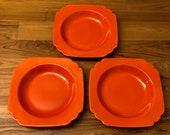 Riviera Ware Homer Laughlin Red Orange Radioactive Art Deco 1930s Bowls Set of 3