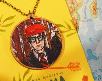 "Rushmore, Wes Anderson- Max - 20"" Bronze / Wooden Necklace."