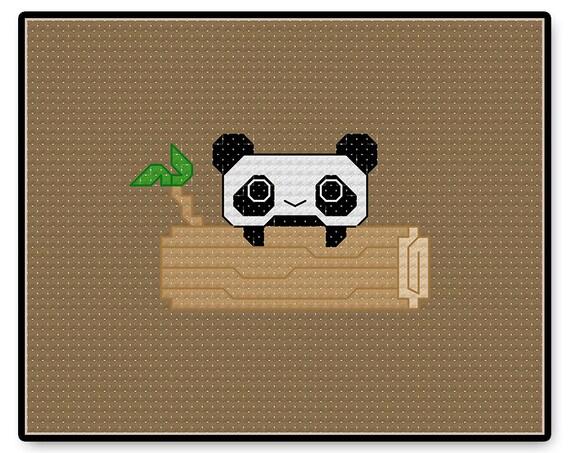 Panda Kawaii Cross Stitch Pdf Pattern Kawaii Cross Stitch Tiny Panda Panda Cross Stitch Kawaii Panda Pixel People Stitch People