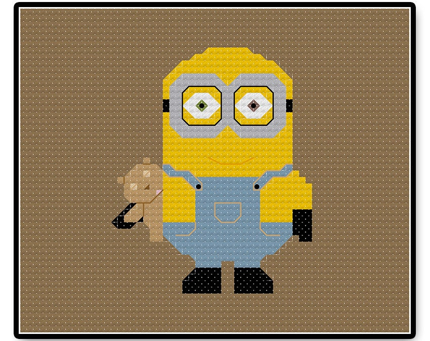 Minion Bob Cross Stitch Pdf Pattern Pixel People Stitch