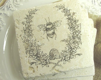 Bee Coaster.  Set of Four Coasters.  Gift for Mom.  Bee and Wreath