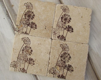 Natural stone coaster.  Dandelion Coasters.  Set of Four Coasters. Gift. Birthday gift. Mother's Day Gift.  Gift for Mom. Aunt