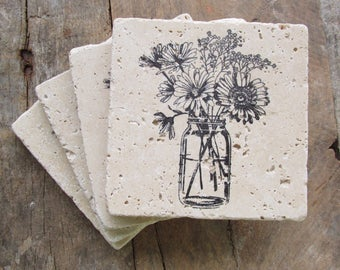 Natural stone coaster. Flowers in a Mason Jar Coasters.  Birthday gift.  Mother's day gift.  Thank you gift. Set of Four Coasters. Gift.