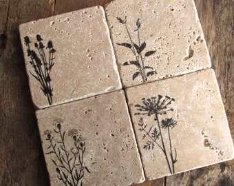 Wild Flower Coasters,  Gift for Mom,  Rustic Decor, Wild Flowers, Stone Coasters, Gift Idea, Birthday gift for Mom. Mother's Day Gift