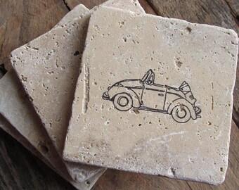 Volkswagen Coasters.  Set of Four Coasters. Volkswagen gift. Auto. Germany. Europe. Birthday gift.  Volkswagen Beetle