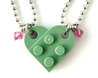 """Heart Necklace Set - Made with Genuine LEGO® Bricks, Birthstone Crystals, Matching Best Friends, Made-in-USA High Quality Ball Chains 24"""""""
