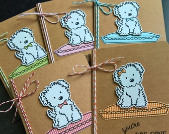 Sheepdog Thank You Notes Set of 5, Cards for Small Dog Lover Cards, Dog Birthday Cards, White Fluffy Dog, Dog Gift