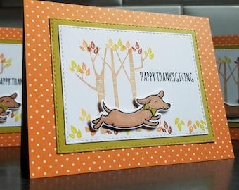 Dachshund Dog Thanksgiving Card, Doxie Greeting Card, Weiner Dog Lover, Sausage Dog Gift