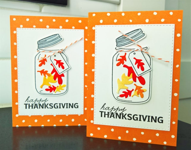 Thanksgiving Cards Set of 2, Happy Thanksgiving Cards, Mason Jar Cards, Fall Notecards
