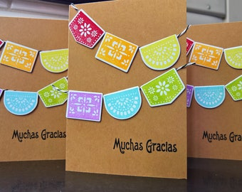 Thank You Card Set of 3, Muchas Gracias Thank You Notes, Gracias Cards in Spanish Cards, Mexican , Papel Picado Banner, Rainbow Cards